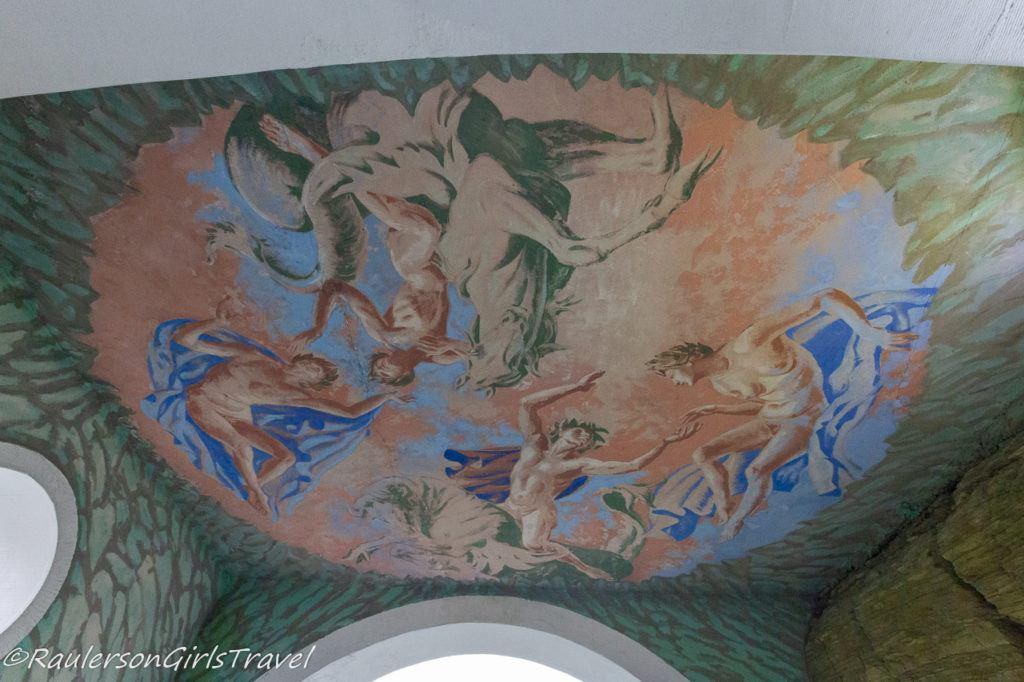 Artwork in the Gatehouse ceiling in Portmeirion