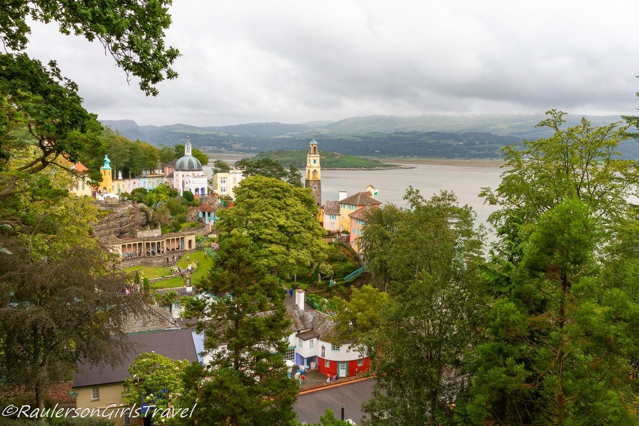 View of Portmeirion Village from the Woodlands