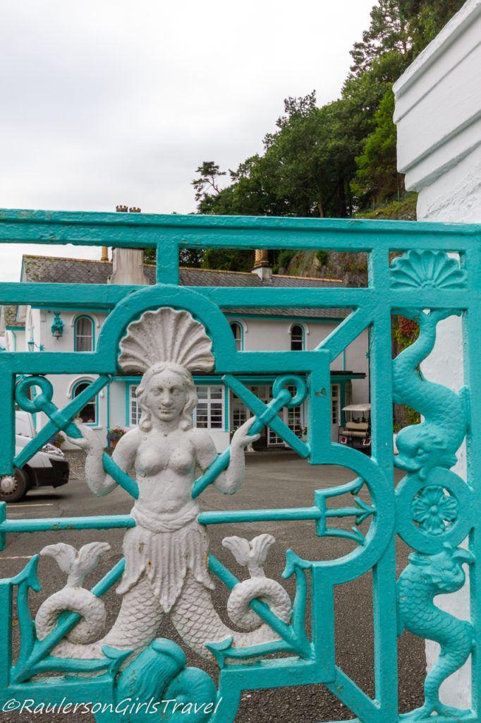 Mermaid on gate at Hotel Portmeirion