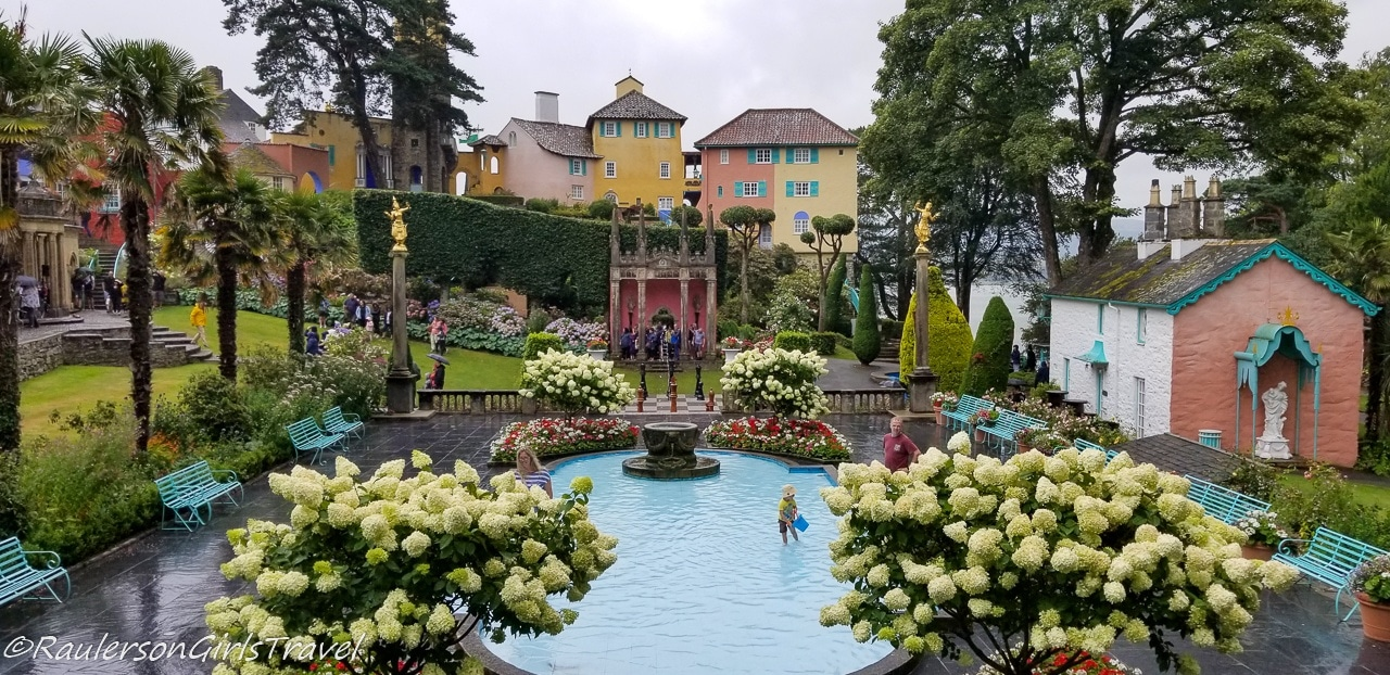Fountain in the center of Portmeirion Village