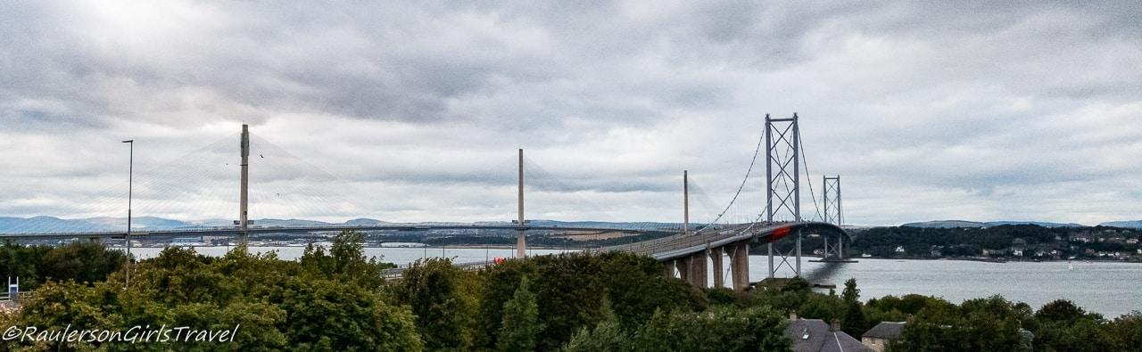The Forth Road Bridge and Queensferry Crossing Bridge in Scotland