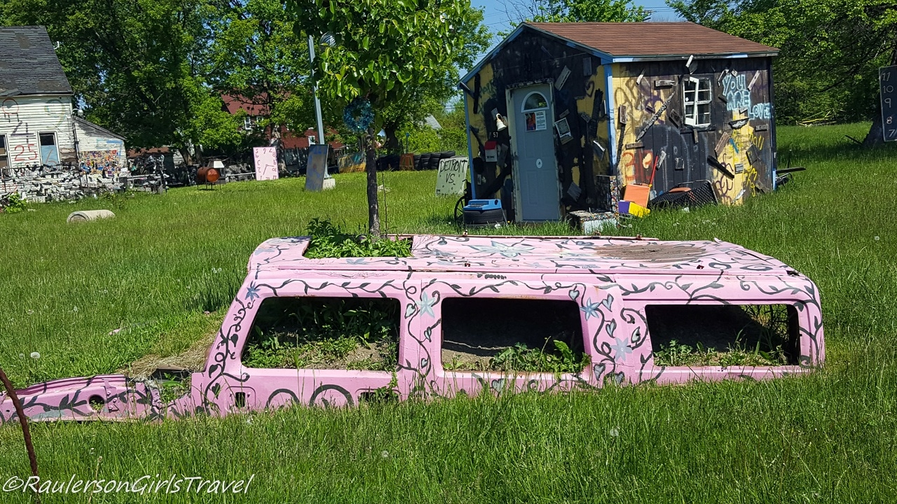 Pink Car Top in Grass at the Heidelberg Project