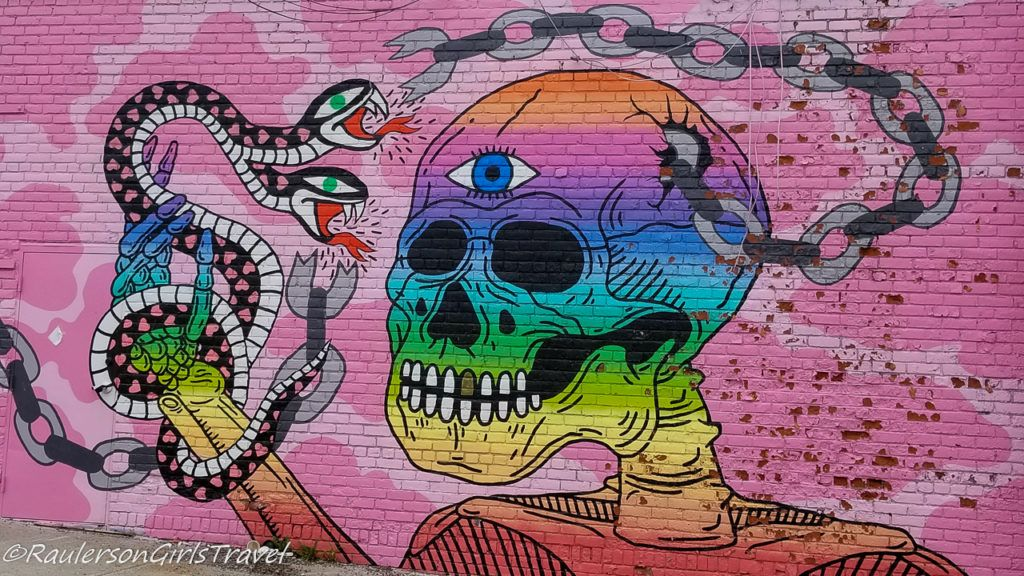 2017 Murals in the Market - rainbow skeleton with snake