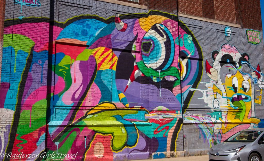 2016 Murals in the Market - colorful chasing monsters