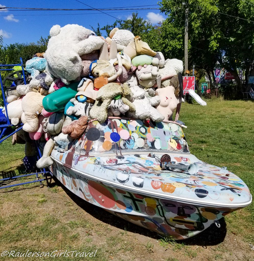 Pile of Stuffed Animals in Boat at the Heidelberg Project