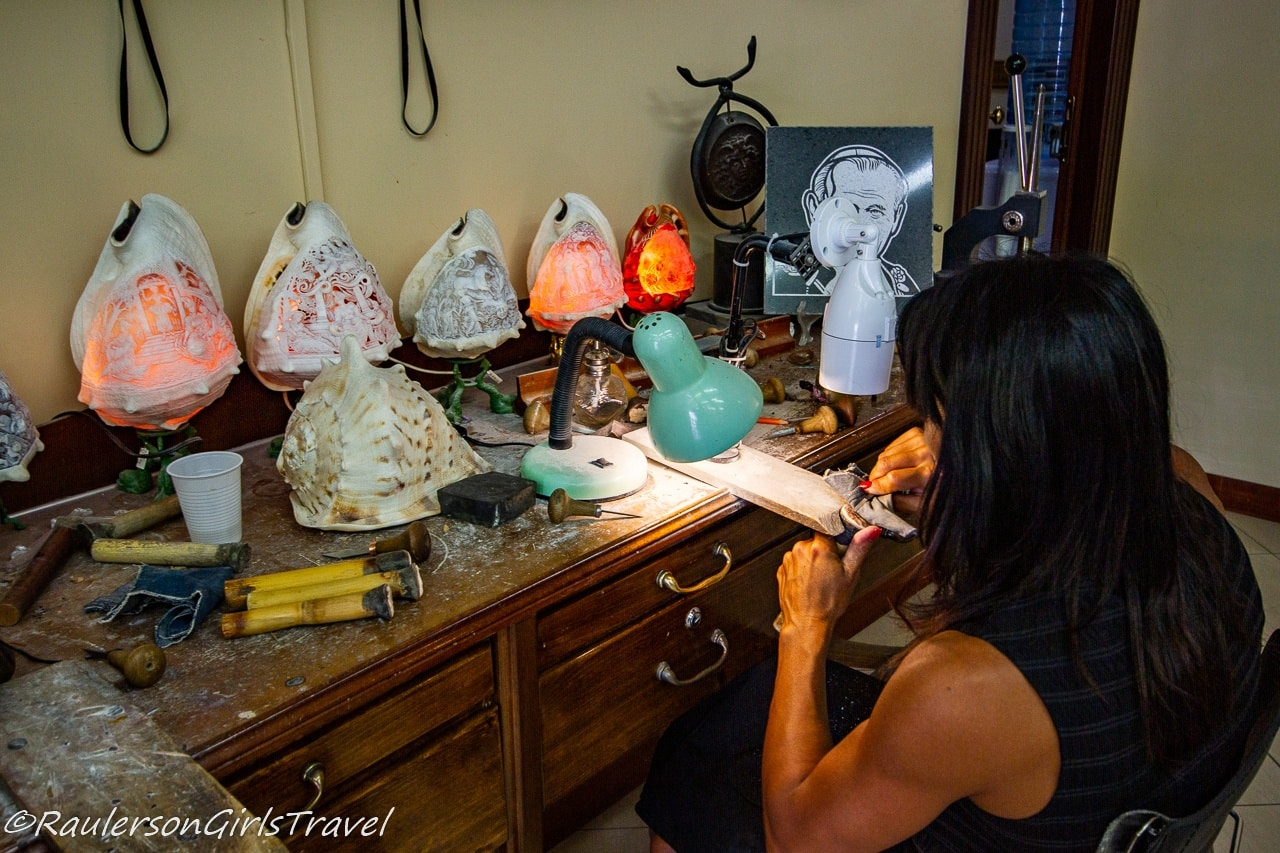 Making Cameos in Cameo/Coral Factory in Naples, Italy