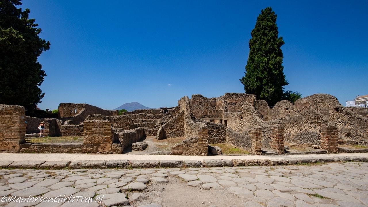 Pompeii ruins with Mount Vesuvius in Background