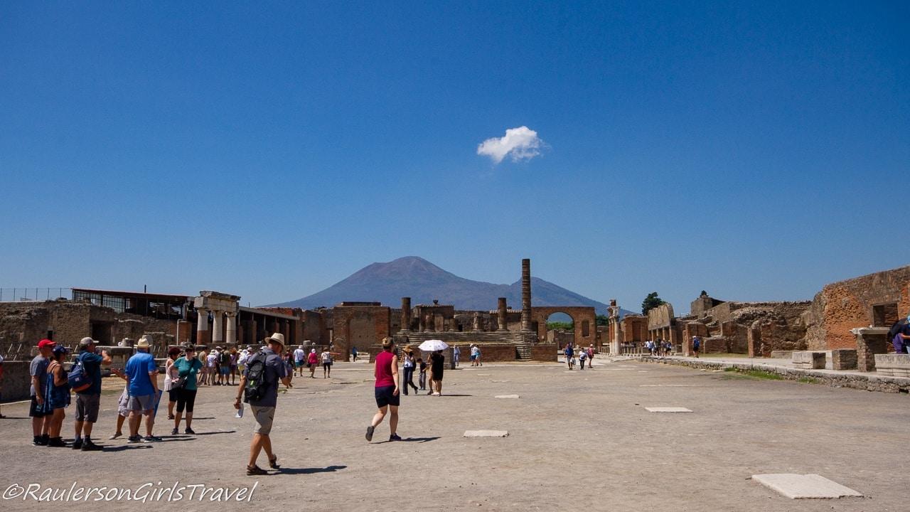 The Forum in Pompeii with Mount Vesuvius in the Background