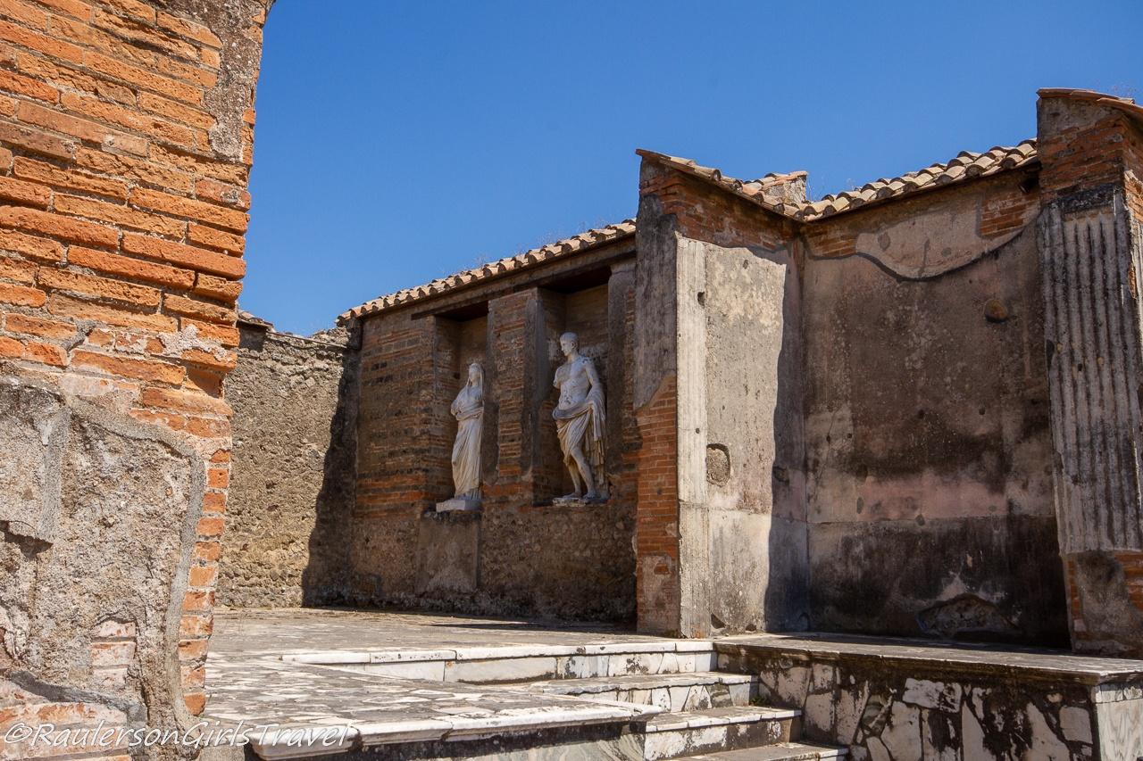Statues in Macellum - Fish Market in Pompeii