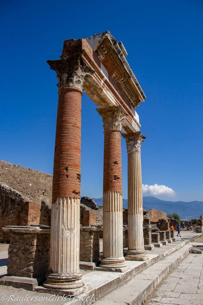 Pillar ruins in the Forum at Pompeii