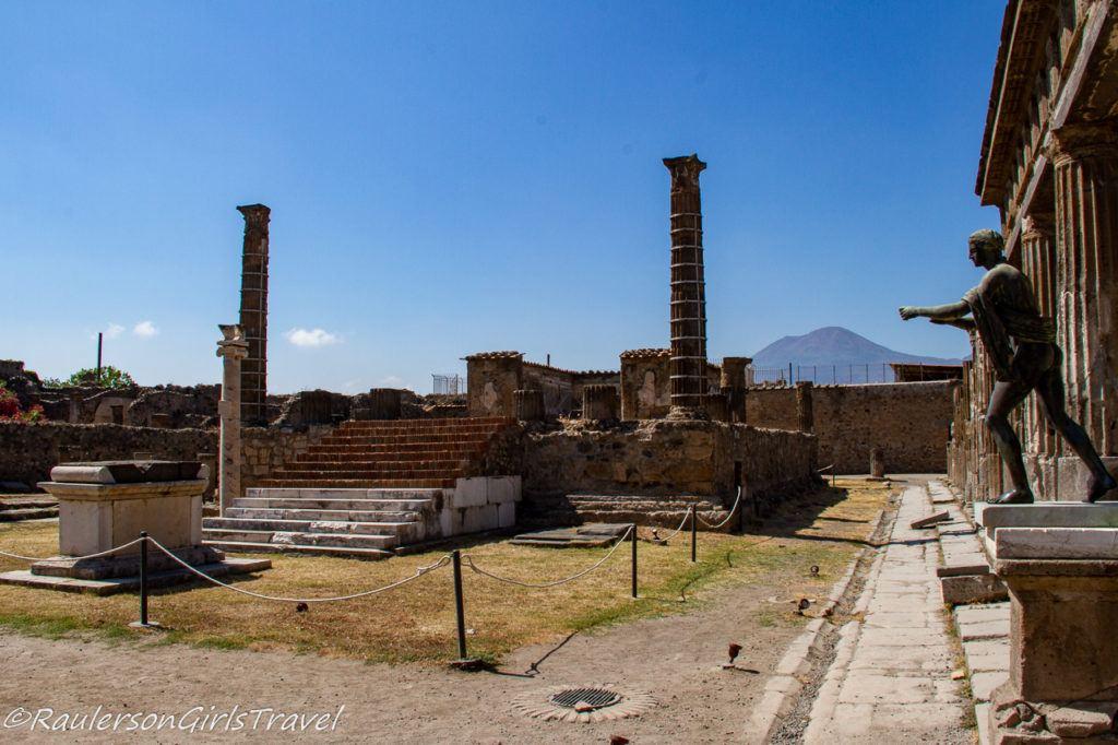 Temple of Apollo with Mount Vesuvius