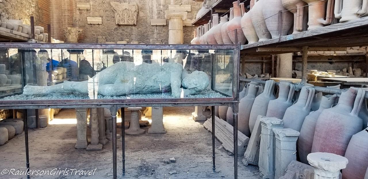 Plaster-encased body of victim of Mount Vesuvius' Eruption