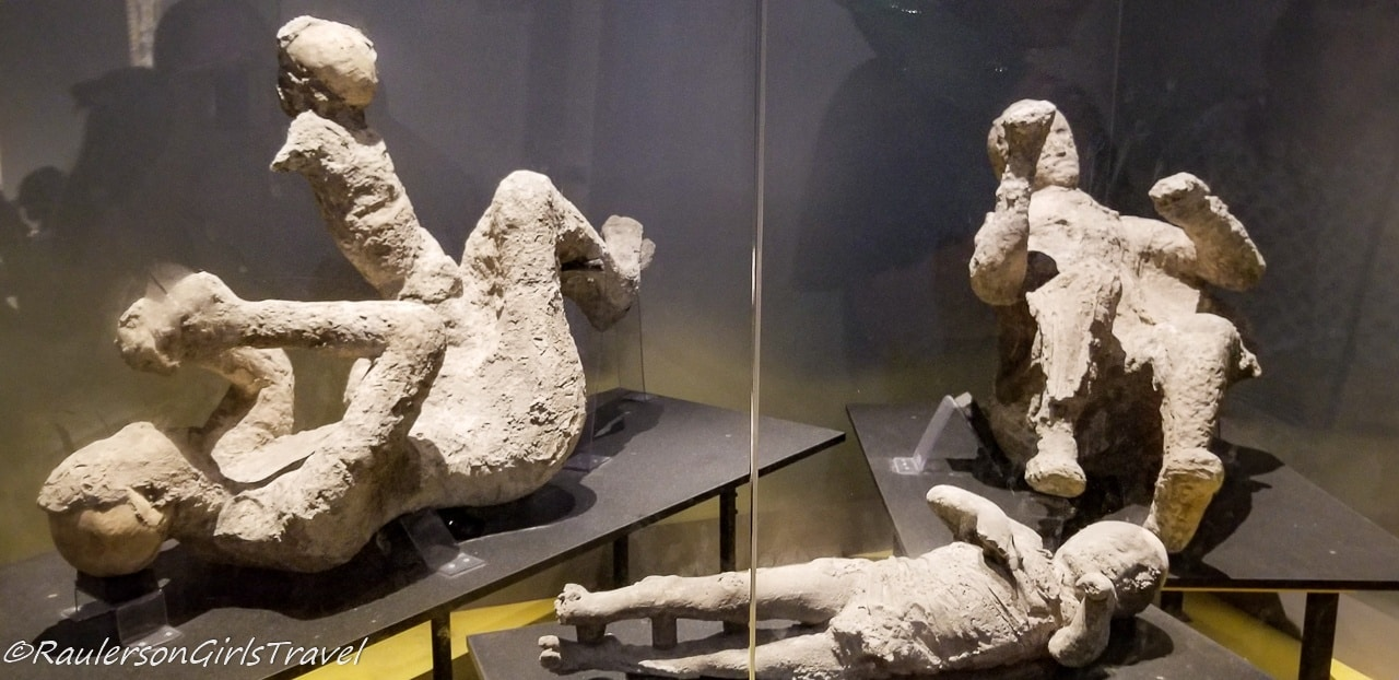 Plaster-encased bodies of victims who were buried by the ash of Mount Vesuvius in the Antiquarium