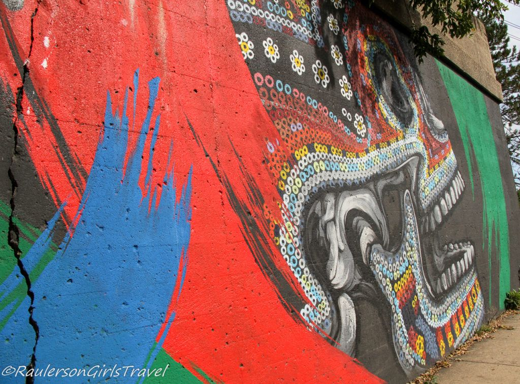 Colorful skull Street Art in Southwest Detroit