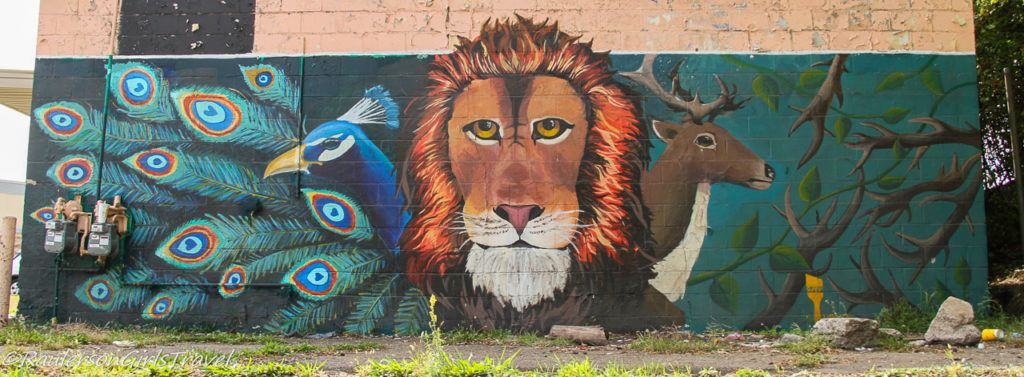 Lion, Peacock, and Deer Street Art in Southwest Detroit