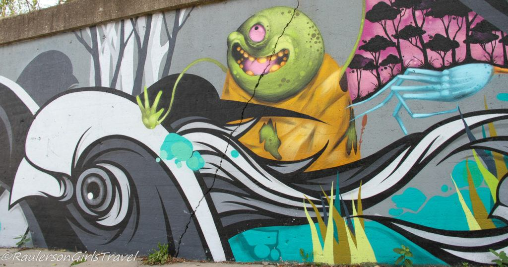Untitled Street Art in Southwest Detroit - Bug on Bird