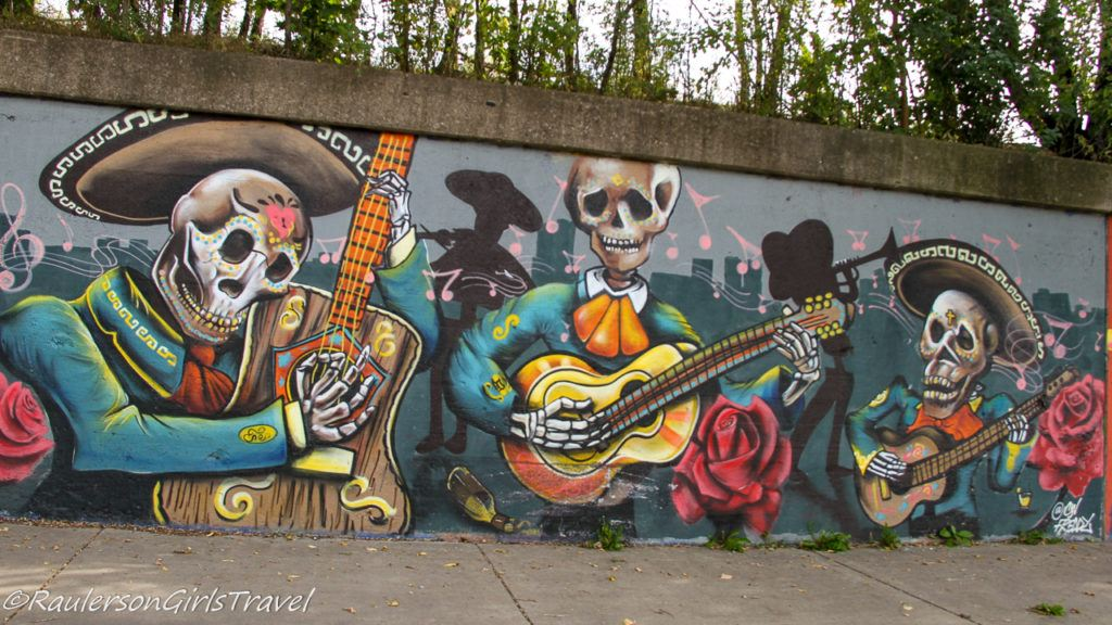 Untitled Street Art in Southwest Detroit - Skeleton Band