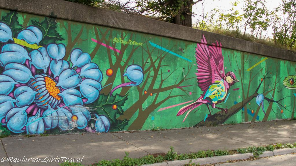 Untitled Street Art in Southwest Detroit - Bird and Snake
