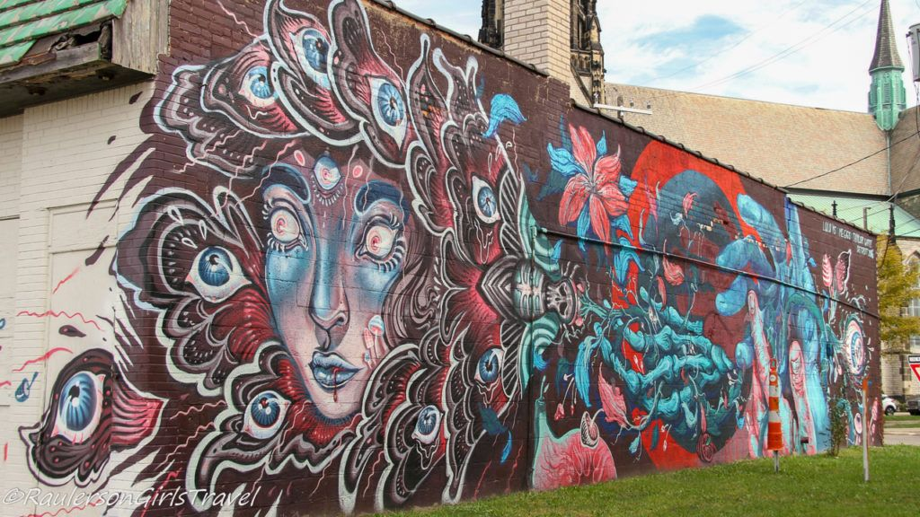 2016 Murals in the Market - lady with eyeballs Detroit Street Art