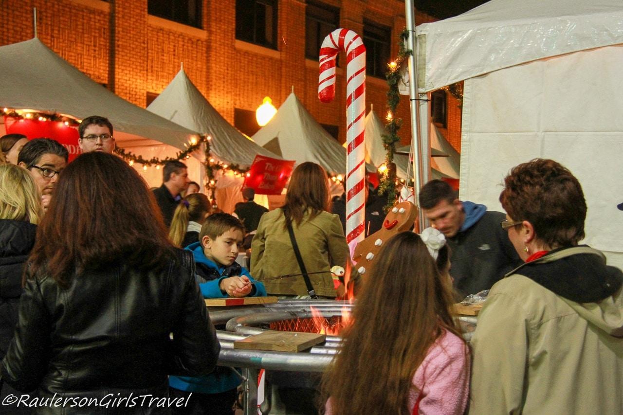 Roasting Marshmallows at Kris Kringle Market