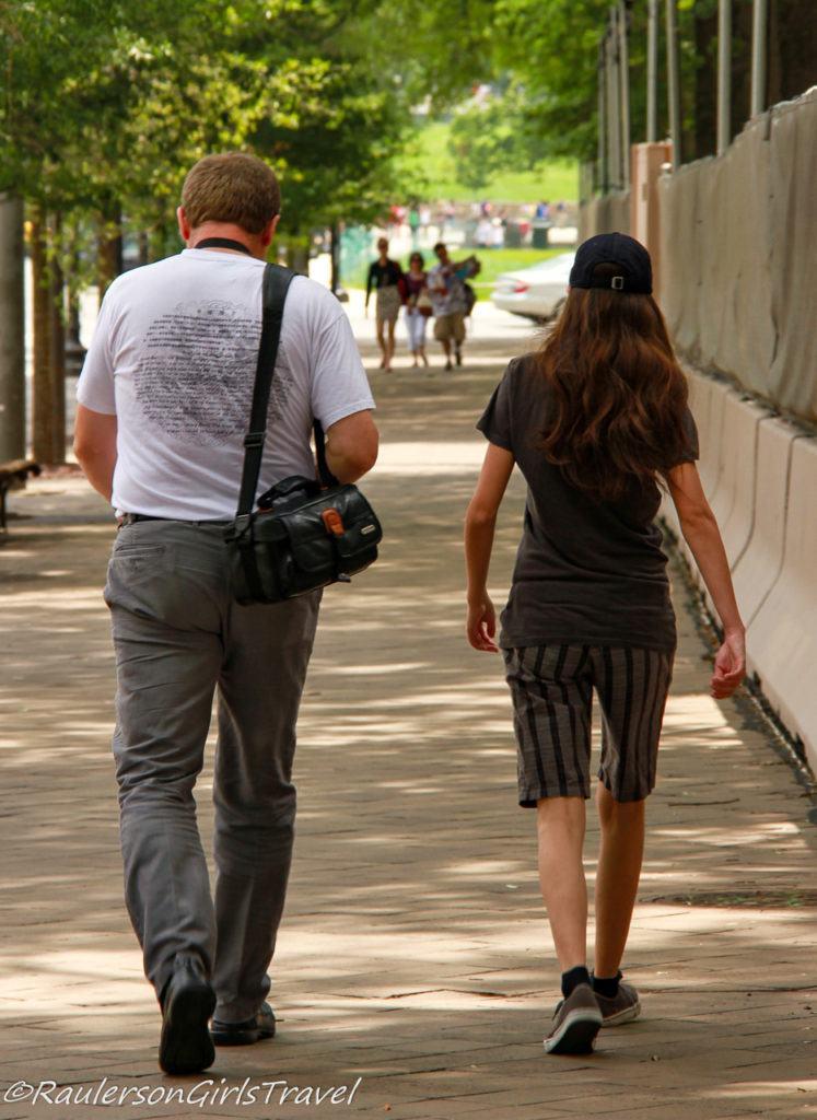 Dad and daughter walking in Washington DC