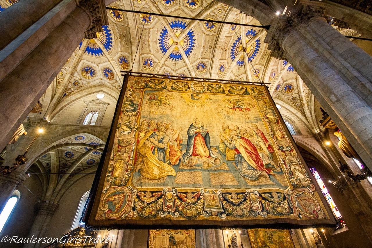 Tapestry inside the Cathedral of Como - things to do in Lake Como