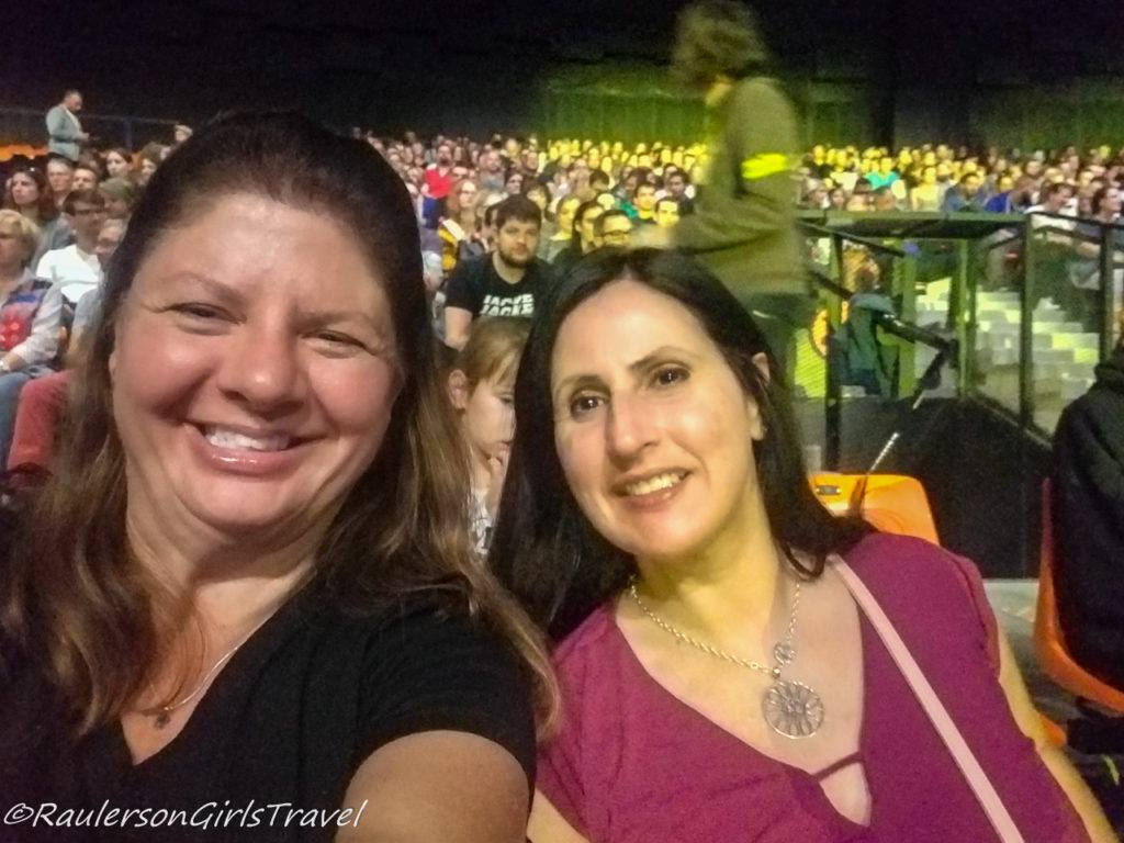 Michelle and Heather at Lindsey Stirling Concert - Celebrating Birthday Abroad