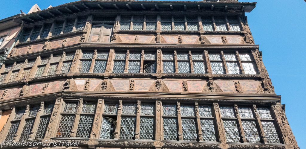 Building in Strasbourg with bottles for glass