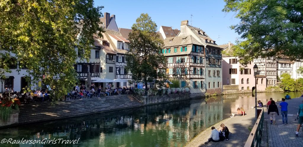 People along the canal in Strasbourg