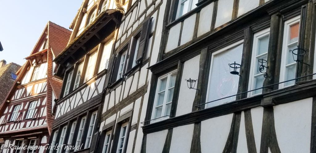 Close-up of timber-framed houses in Strasbourg