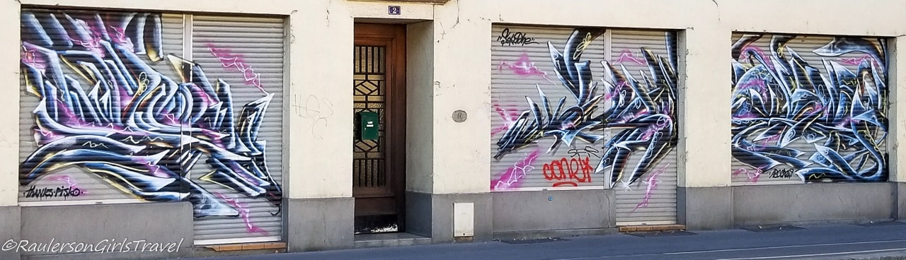street art on doors in Strasbourg