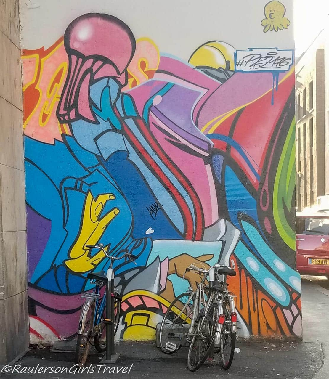 Colorful person with hands street art