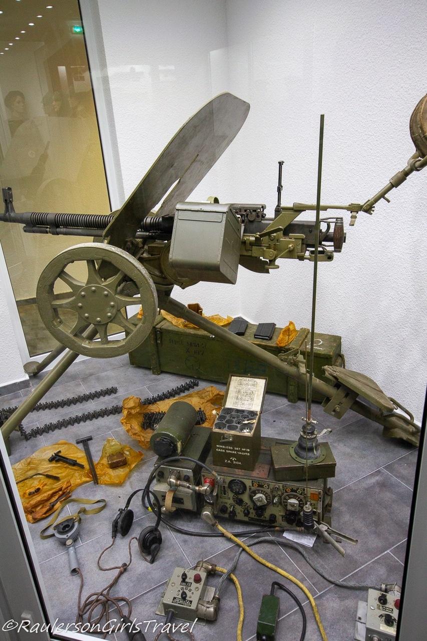 Military WW2 gun and radio display