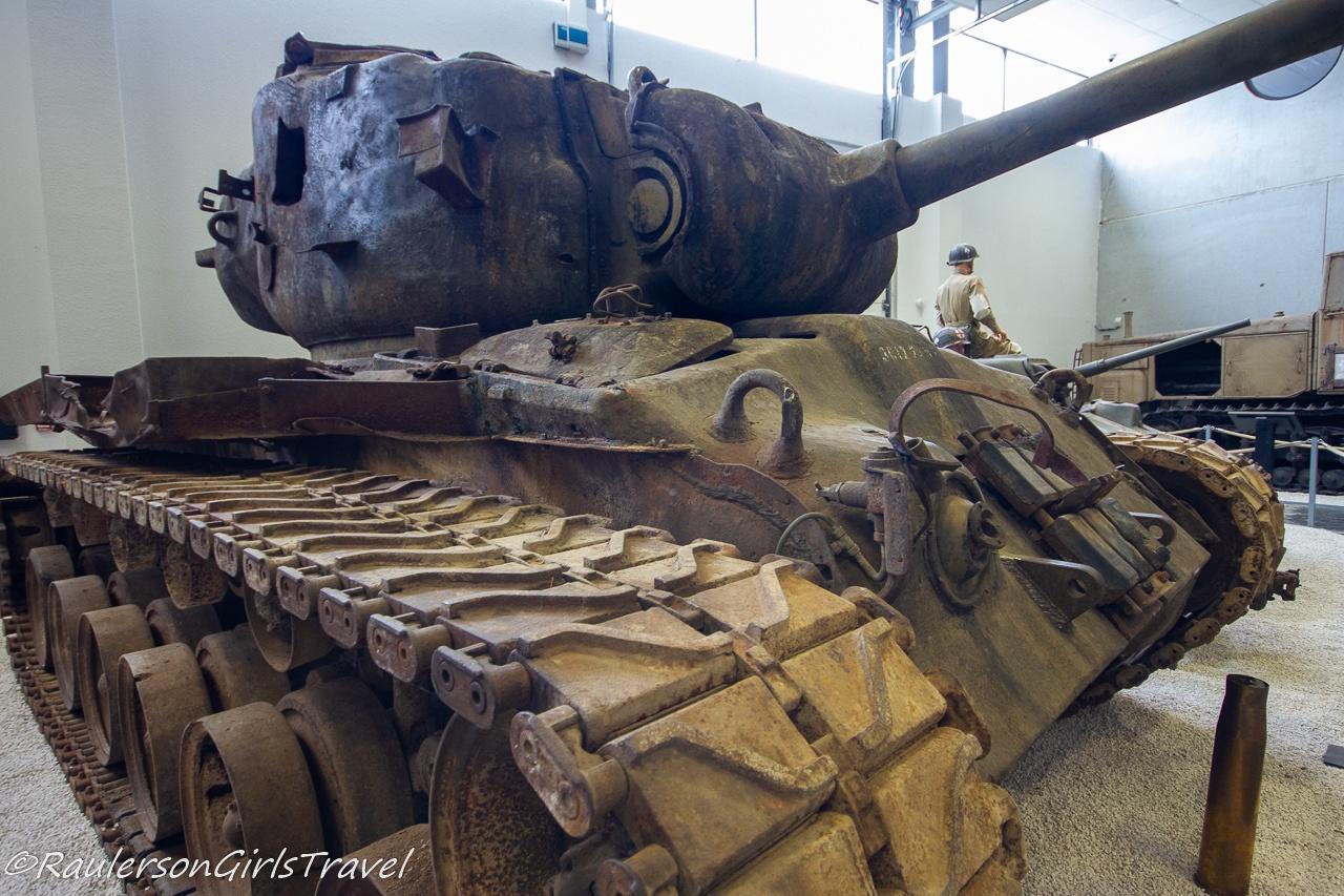 A destroyed tank displayed at MM Park France