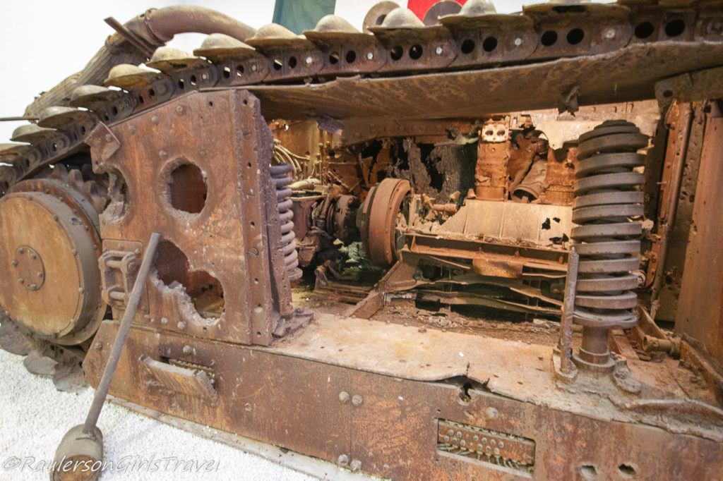 Rusted destroyed WW2 tank display