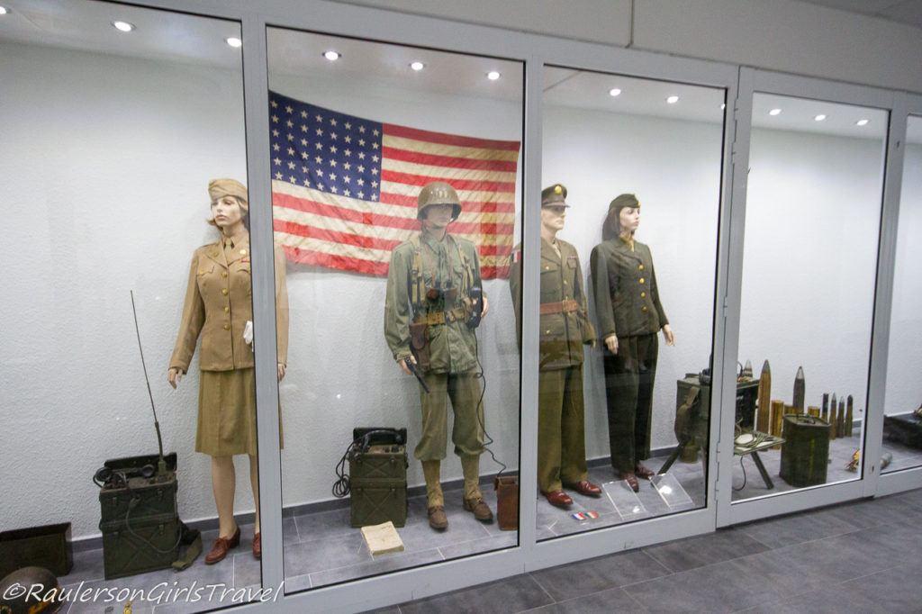 American WW2 uniforms, radios, weapons