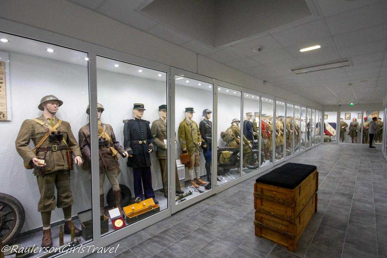 The upstairs display of WW2 uniforms from countries around the world