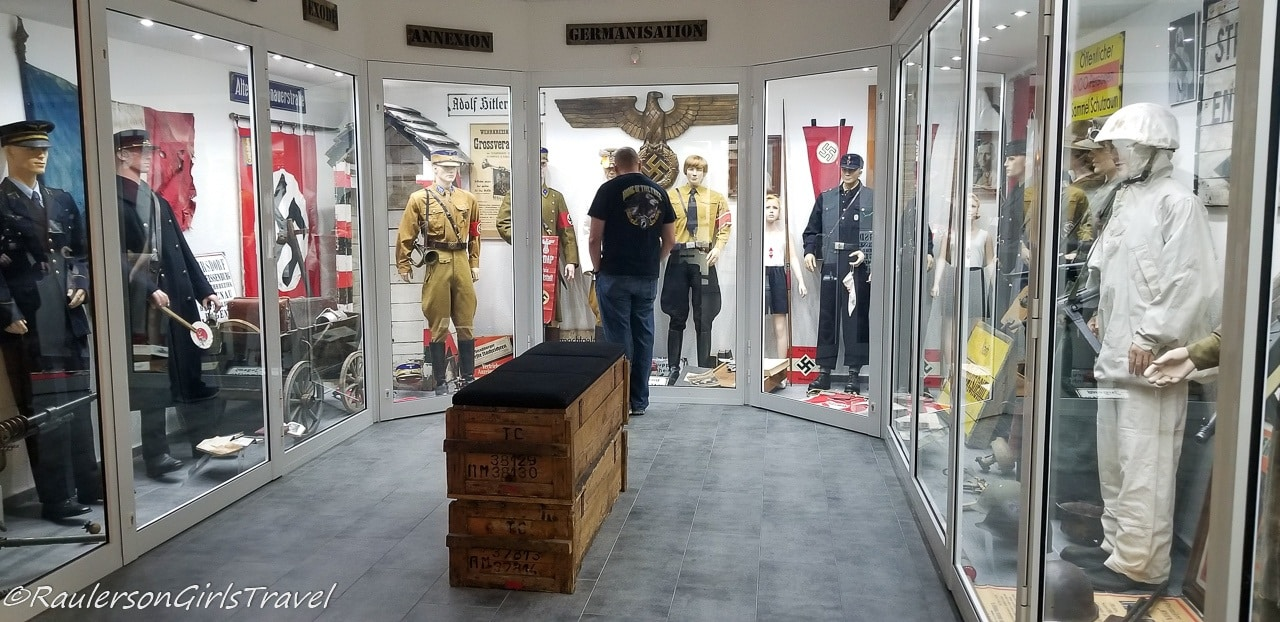 Adam checking out the German uniform display at MM Park France