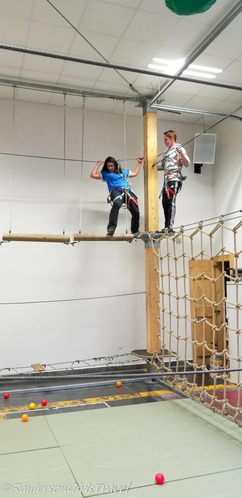 Michelle and Conner on the ropes at MM Park France