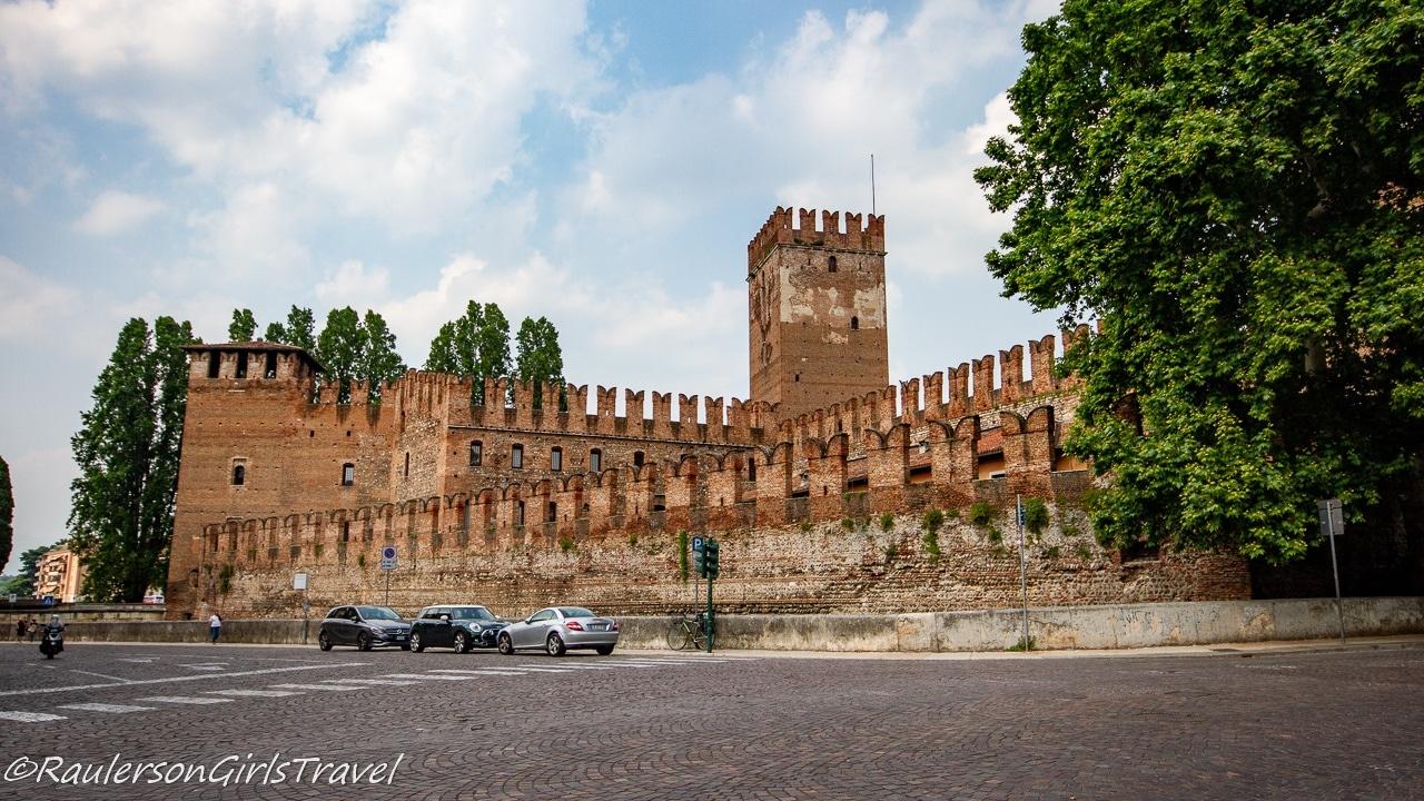 Outside of Castelvecchio in Verona, Italy