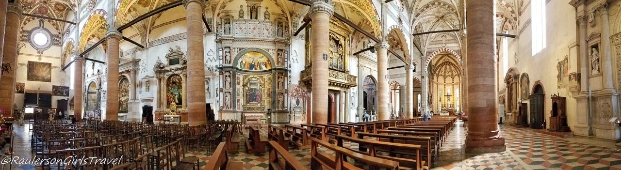 Inside the Basilica di Santa Anastasia- things to do in Verona
