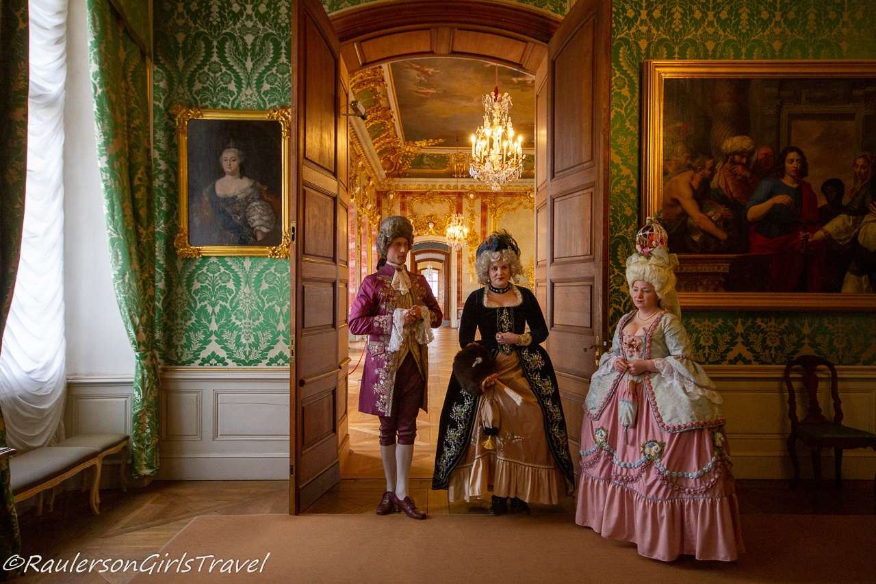 Costumed Tour Guides in Rundāle Palace in Latvia