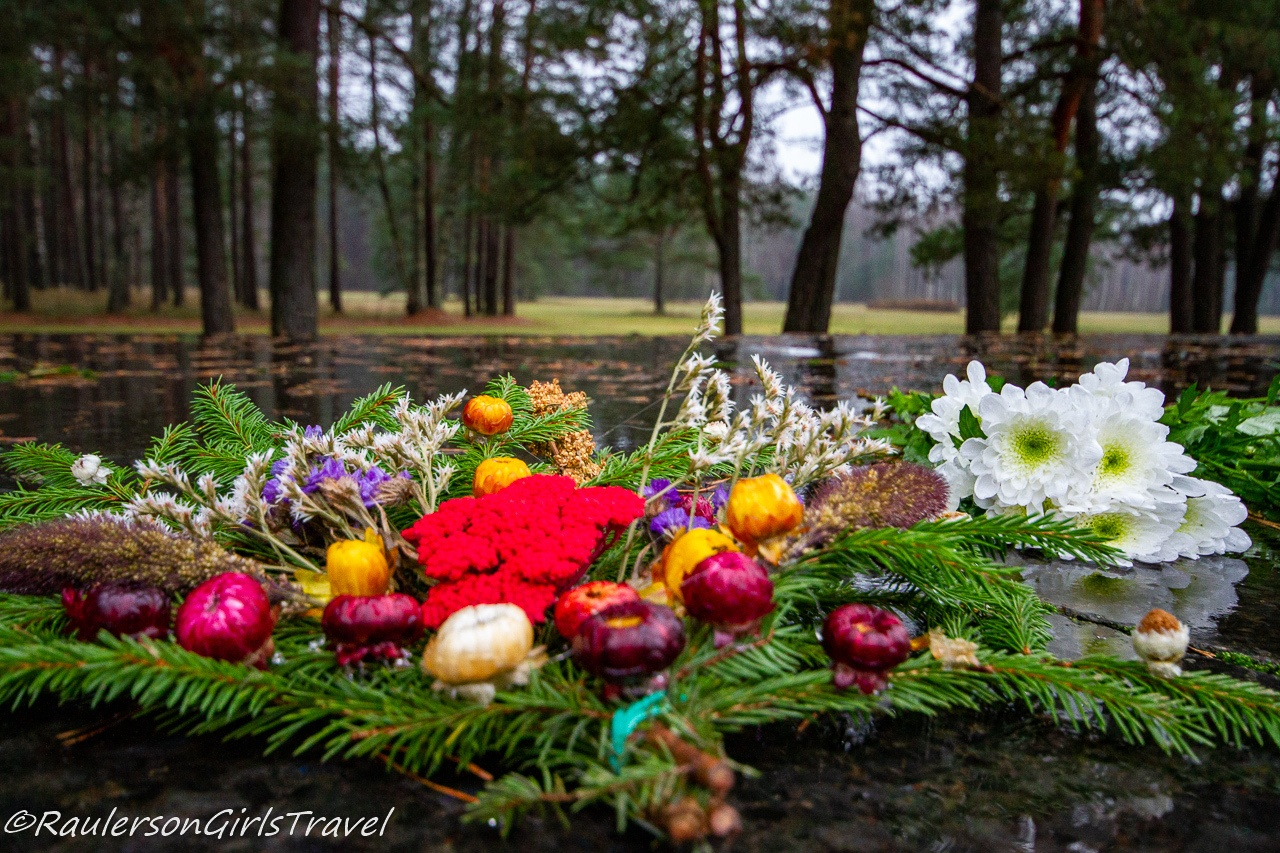 Flowers at Salaspils Concentration Camp Memorial in Latvia