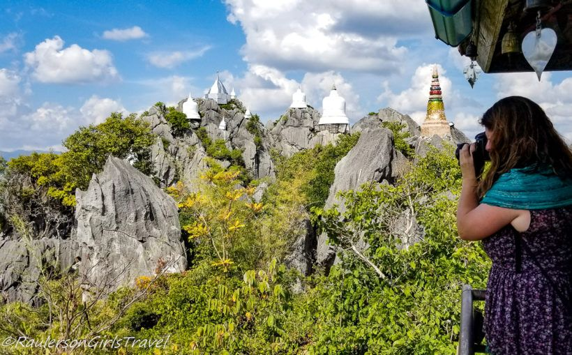 Heather Photographing Unseen Cliff Temple in Thailand