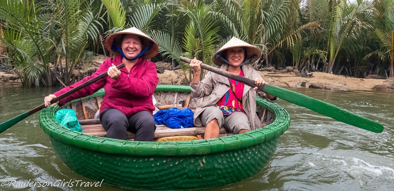 Heather and Lyla in a Basket Boat in Vietnam