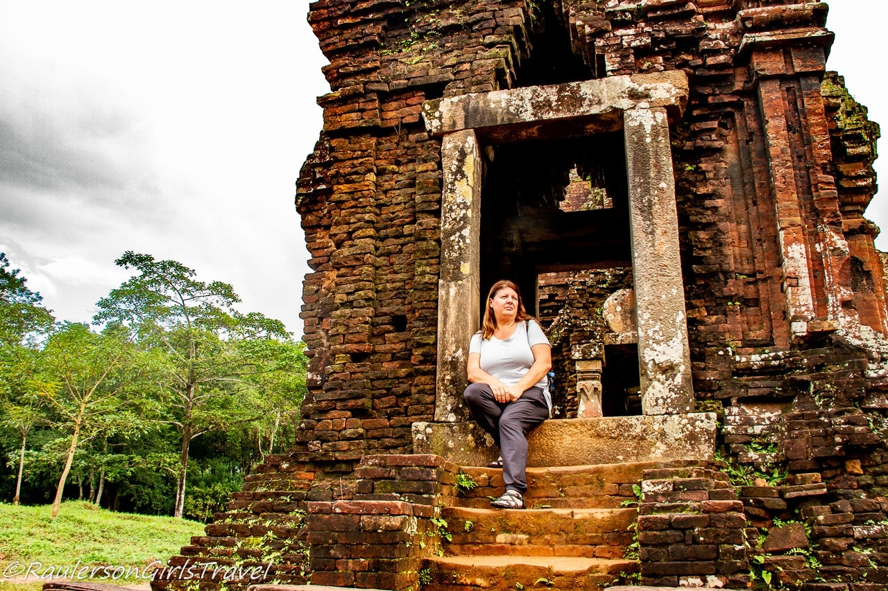 Heather at My Son Temples in Vietnam