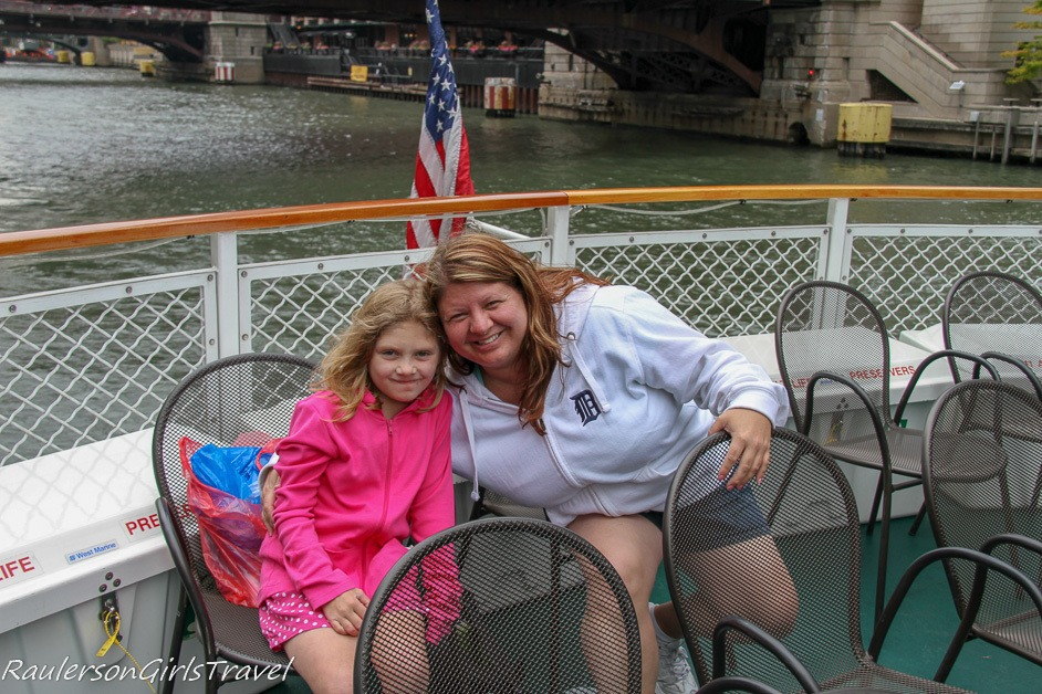 Madison and Heather on an Architecture Boat Tour in Chicago