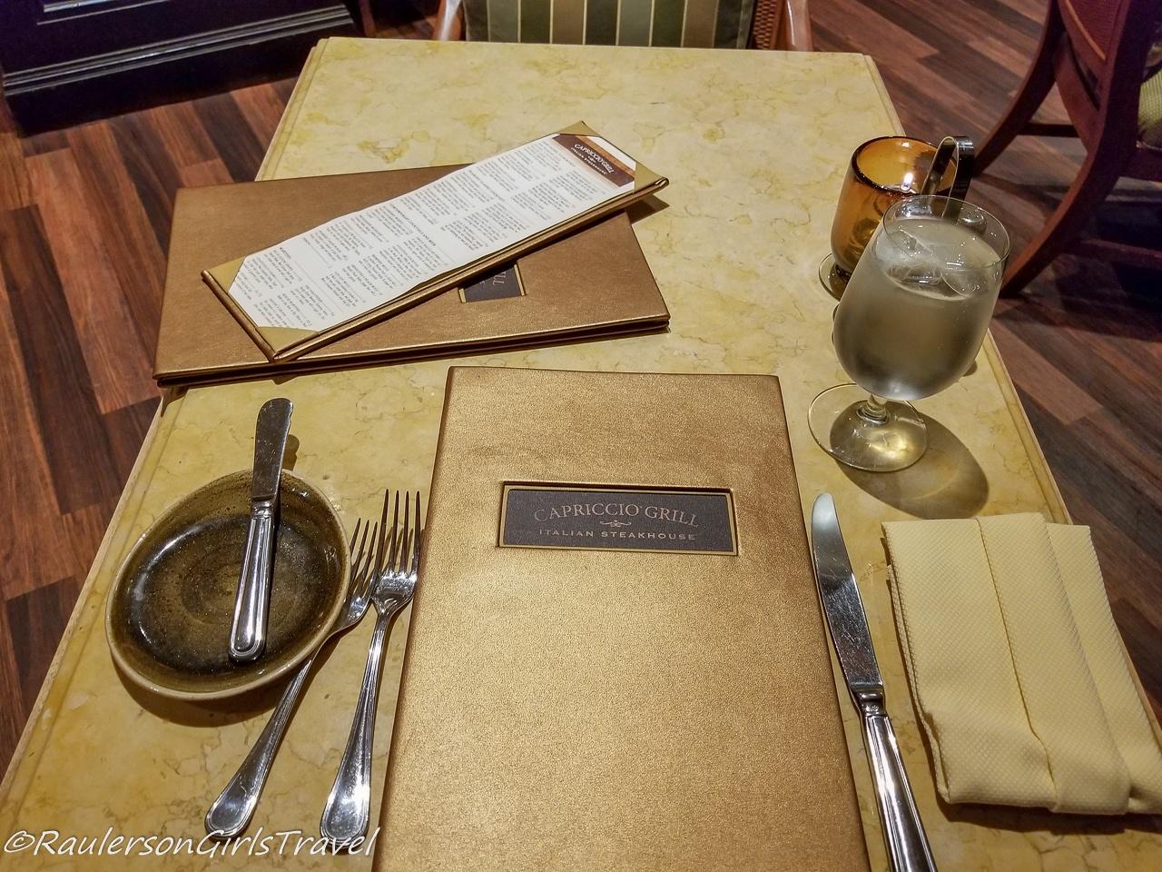 Capriccio Grill Table Setting - Memphis Restaurants