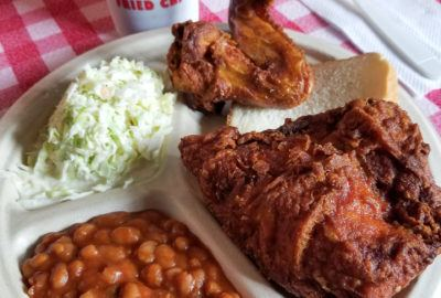 Gus's World Famous Fried Chicken, Beans, and Slaw