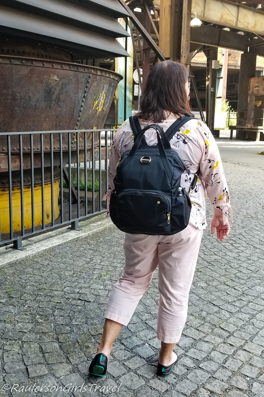 Heather with PacSafe Backpack